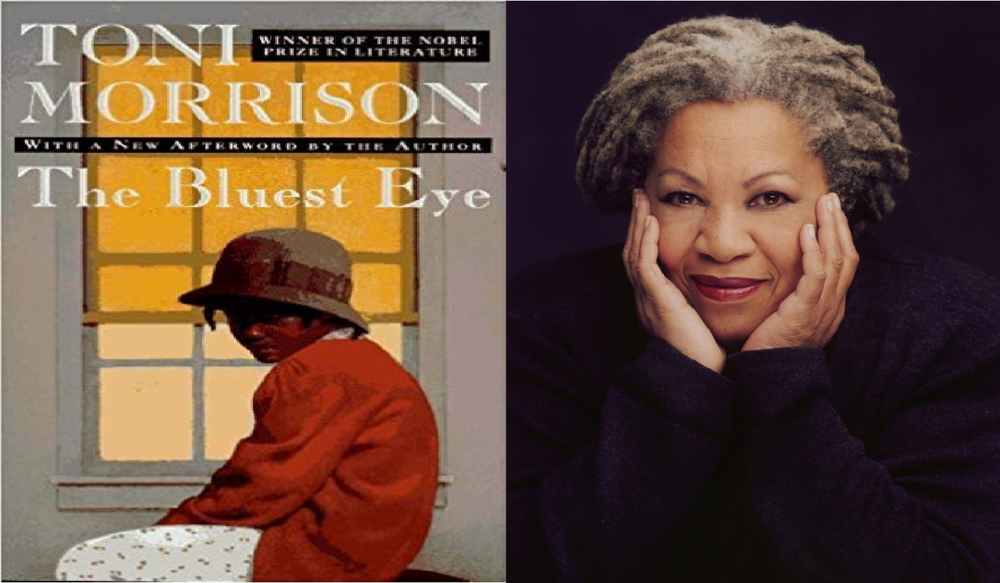 On the left, a black girl wearing a white dress, a hat and an orange sweater sitting sadly in from of a window. On the right, an elderly grey-haired black woman wearing a black sweater holding her face in her hands.